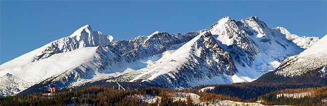 A view of The Tatra Mountains in winter, Slovakia.